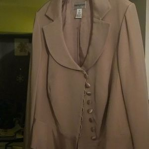BLOOMINGDALES-LT MAUVE SILK JKT W/COVERED BUTTONS